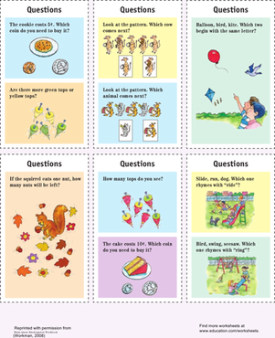Kindergarten Reading & Writing Worksheets: Quiz Cards: Kindergarten
