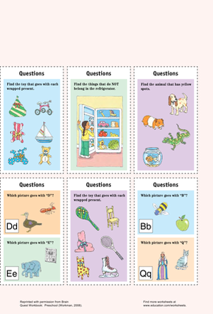 Preschool Reading & Writing Worksheets: Catchy Question Cards