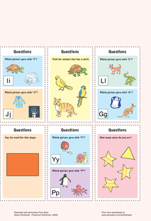Preschool Reading & Writing Worksheets: Catchy Questions Cards II