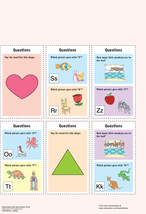 Preschool Reading & Writing Worksheets: Catchy Question Cards III