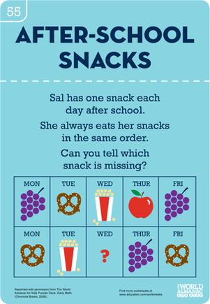 Kindergarten Holidays & Seasons Worksheets: After-School Snacks: Identifying Patterns