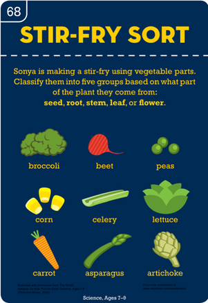 Third Grade Science Worksheets: Stir-Fry Vegetable Sort