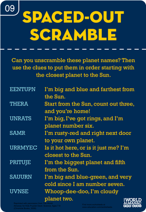 Second Grade Science Worksheets: Word Scramble for Kids: Planets