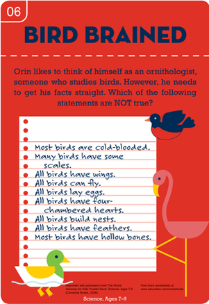 Third Grade Science Worksheets: Bird Brained! Feathered Fact Check