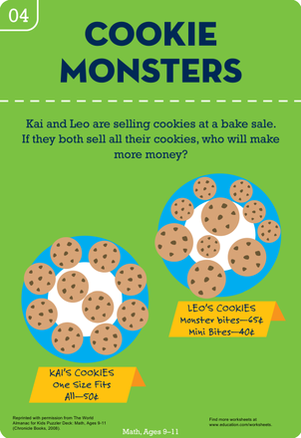 Fourth Grade Math Worksheets: Cookie Monster Math