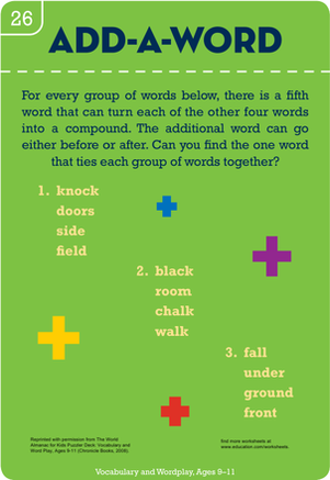 Fifth Grade Reading & Writing Worksheets: Add-A-Word: Making Compound Words