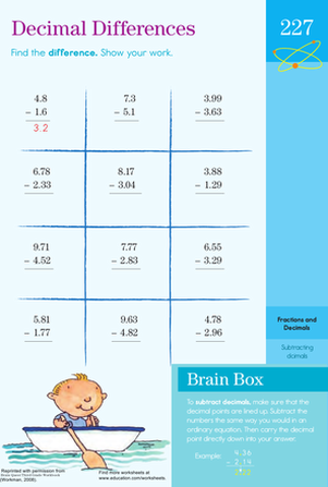 Third Grade Math Worksheets: Subtracting with Decimals