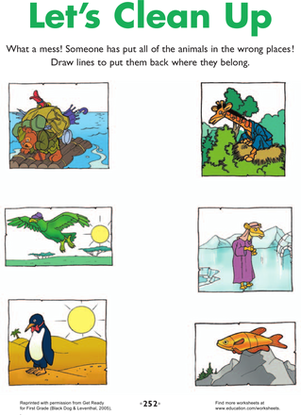 First Grade Offline Games Worksheets: Let's Clean Up! Beginner's Biology