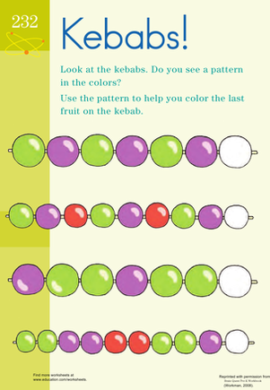 Preschool Math Worksheets: Fruit Patterns