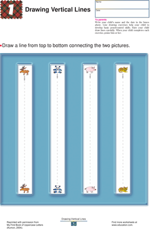 Preschool Reading & Writing Worksheets: Drawing Lines