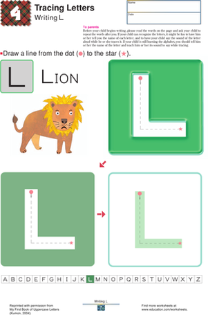 Preschool Reading & Writing Worksheets: Tracing the Uppercase: L, T and H
