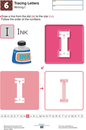 Preschool Reading & Writing Worksheets: Uppercase Letter Tracing: I, F, and E