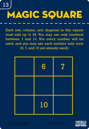 Fourth Grade Math Worksheets: Magic Square Number Puzzle