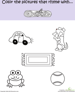 Kindergarten Reading & Writing Worksheets: Phonics Fun: Rhymes With Log