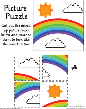 Kindergarten Math Worksheets: Rainbow Picture Puzzle