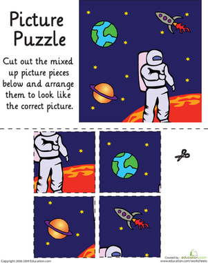 Kindergarten Math Worksheets: Outer Space Picture Puzzle