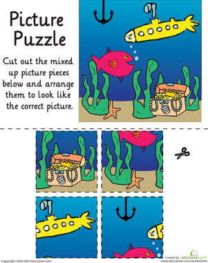 Kindergarten Math Worksheets: Picture Puzzle: Under the Sea
