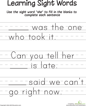"First Grade Reading & Writing Worksheets: Learning Sight Words: ""She"""