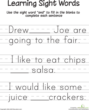 "First Grade Reading & Writing Worksheets: Learning Sight Words: ""And"""