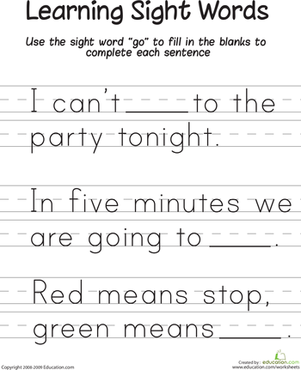 "Kindergarten Reading & Writing Worksheets: Learning Sight Words: ""Go"""