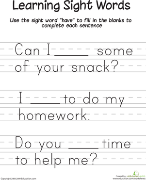 "First Grade Reading & Writing Worksheets: Learning Sight Words: ""Have"""