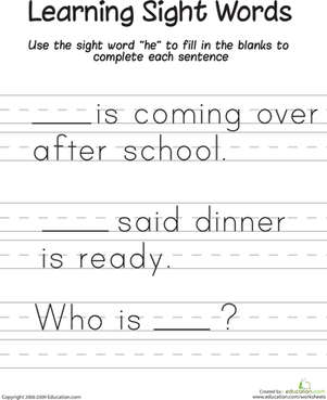 "First Grade Reading & Writing Worksheets:  Learning Sight Words: ""He"""