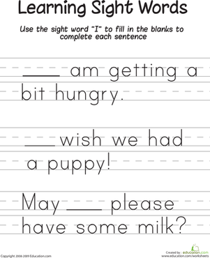 "Kindergarten Reading & Writing Worksheets: Learning Sight Words: ""I"""