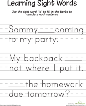 "First Grade Reading & Writing Worksheets: Learning Sight Words: ""Is"""