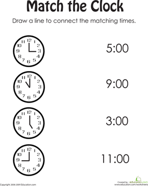 Kindergarten Math Worksheets: Match the Clock