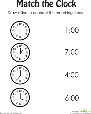 Kindergarten Math Worksheets: Clock Practice