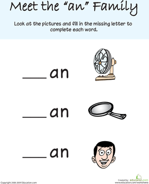 "Kindergarten Reading & Writing Worksheets: Words That Rhyme with ""Man"""