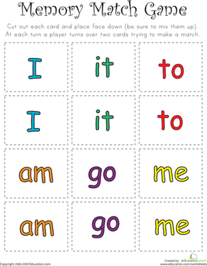 Kindergarten Reading & Writing Worksheets: Match Game: Sight Word Memory Match