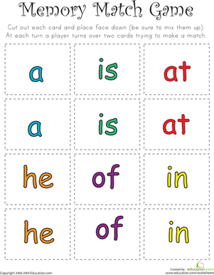 Kindergarten Reading & Writing Worksheets: Sight Word Memory Match II