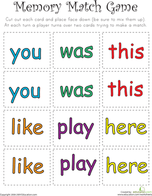 Kindergarten Reading & Writing Worksheets: Sight Word Memory Match IV
