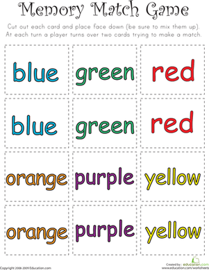 Kindergarten Reading & Writing Worksheets: Color Word Memory Match