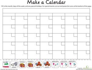 Kindergarten Math Worksheets: Make a Calendar!