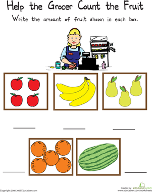 Kindergarten Math Worksheets: Count to Five: Help the Grocer!