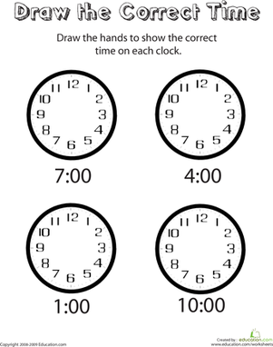 Kindergarten Math Worksheets: Analog Clocks: Draw the Time