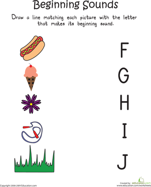 Kindergarten Reading & Writing Worksheets: Beginning Sounds: F to J