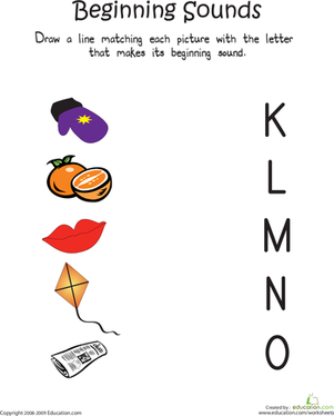 Kindergarten Reading & Writing Worksheets: Beginning Sounds: K to O