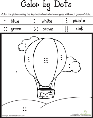 Preschool Math Worksheets: Color by Dots!