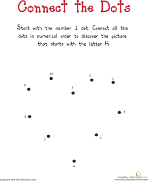 "Kindergarten Reading & Writing Worksheets: Connect the Dots: Practicing ""H"""