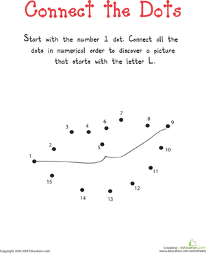 "Kindergarten Reading & Writing Worksheets: Connect the Dots: Practicing ""L"""