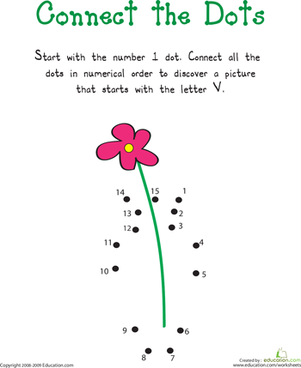 "Kindergarten Reading & Writing Worksheets: Connect the Dots: Practicing ""V"""