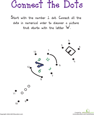 "Kindergarten Reading & Writing Worksheets: Connect the Dots: Practicing ""W"""