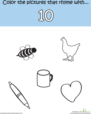 Kindergarten Reading & Writing Worksheets: Rhymes With Ten