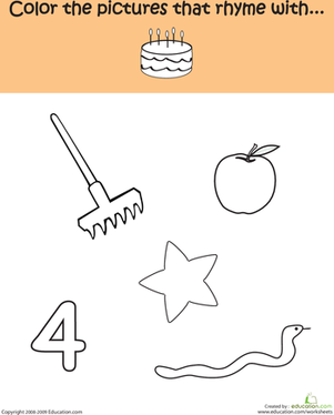 Kindergarten Reading & Writing Worksheets: Word Families: Rhyme with -ake