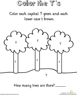 Kindergarten Reading & Writing Worksheets: Color the T's