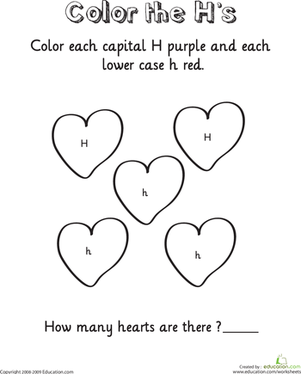 Kindergarten Reading & Writing Worksheets: Learning the Letter H