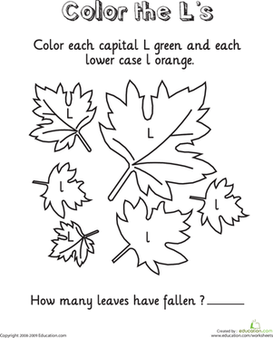 Kindergarten Reading & Writing Worksheets: L Coloring Page: Leaftastic!
